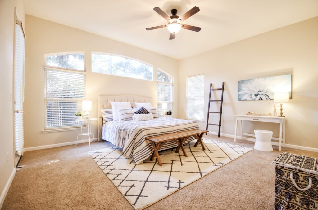 King size bed with modern farmhouse look and feel.