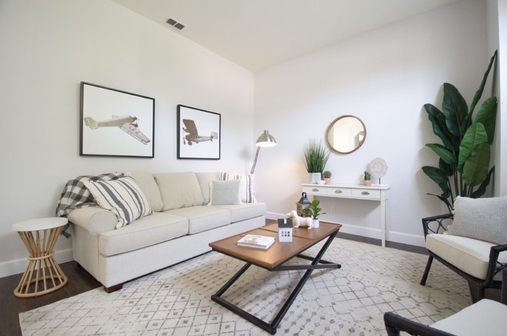 white couches with farmhouse modern look on this home staging beauty in Roseville, CA.