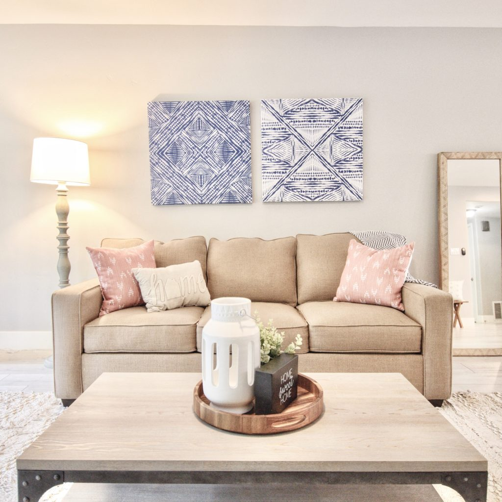 beachy look and feel in the staged home in Carmichael, CA