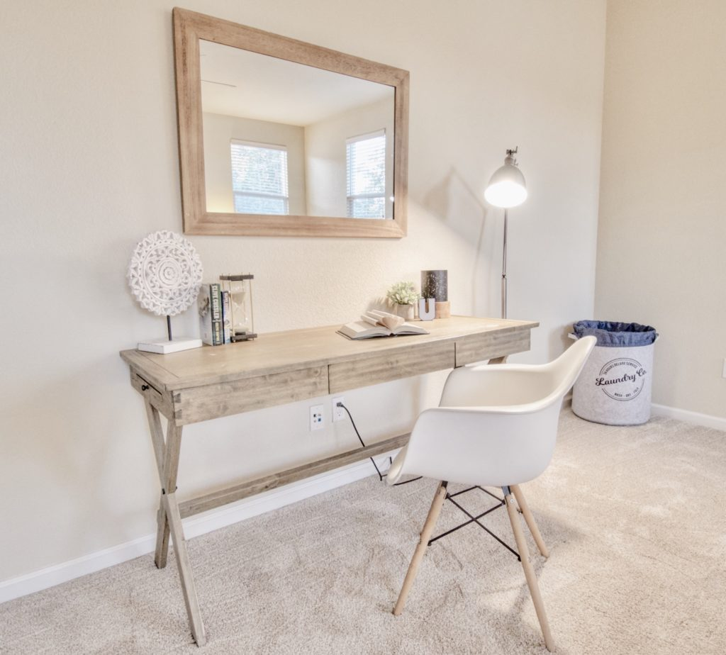 home staging with natural wood tones