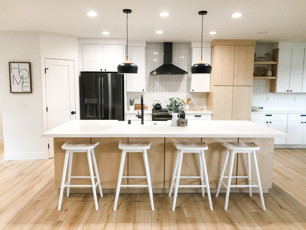 live salt and stone American River Drive flip, modern kitchen with Scandinavian style.