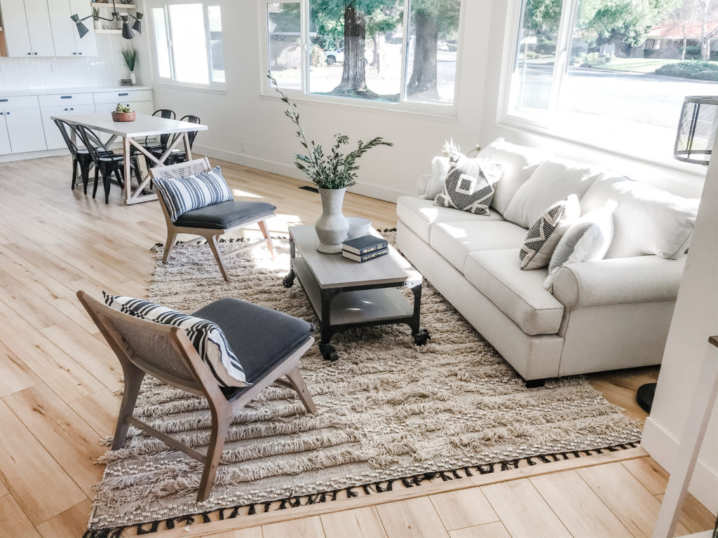 open great-room modern farmhouse staging