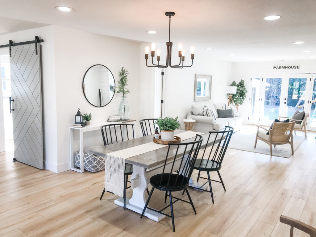 Bright and airy farmhouse staging for live salt and stone flip